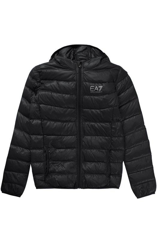 Стеганая пуховая куртка с капюшоном и логотипом бренда Ea 7 3YBB34/BN29Z
