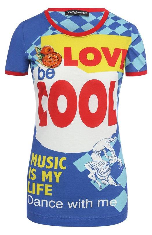 Футболка с ярким принтом и нашивкой Dolce & Gabbana 0102/F8H68Z/HP7BV