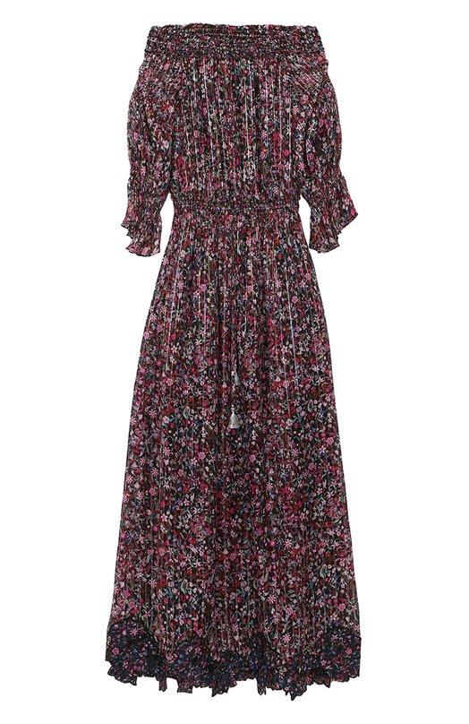 Платье-макси с цветочным принтом и открытыми плечами Elie Tahari E209P607