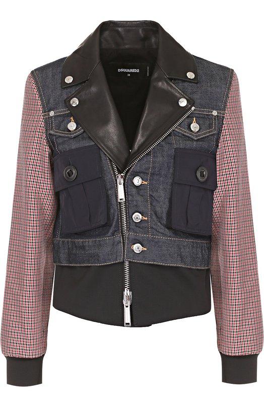 Комбинированная куртка с косой молнией Dsquared2 S72AM0528/STN702