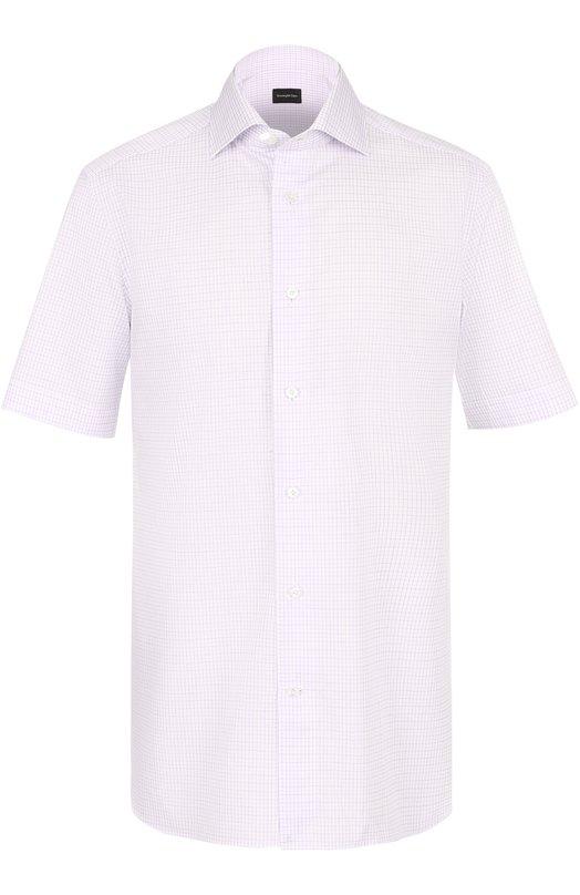 Хлопковая сорочка с короткими рукавами Ermenegildo Zegna 9017718MS0BA