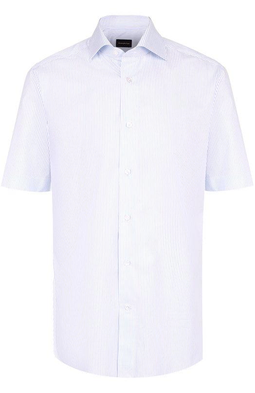Хлопковая сорочка с короткими рукавами Ermenegildo Zegna 9042288MS0BA