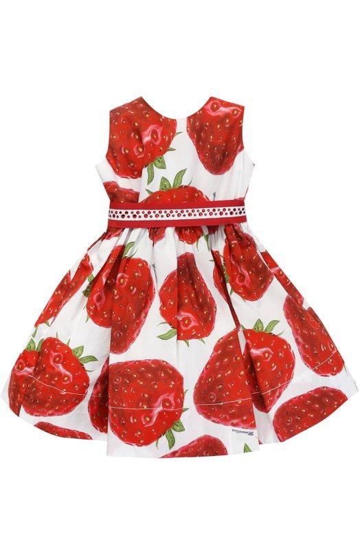 Купить Хлопковое платье с принтом и поясом со стразами Monnalisa, 319925, Италия, Красный, Хлопок: 100%; Подкладка-хлопок: 100%;