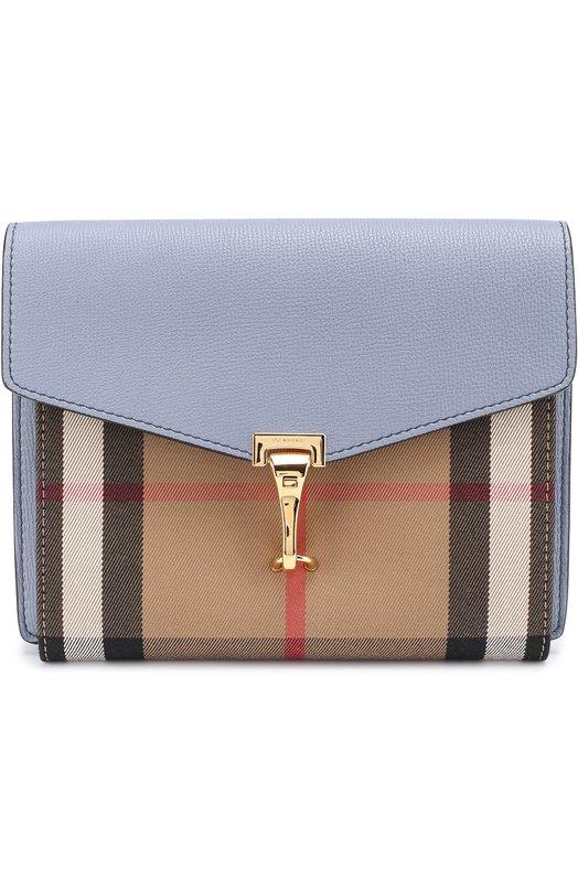 Кожаная сумка Macken small с отделкой из клетчатого текстиля Burberry 4049475