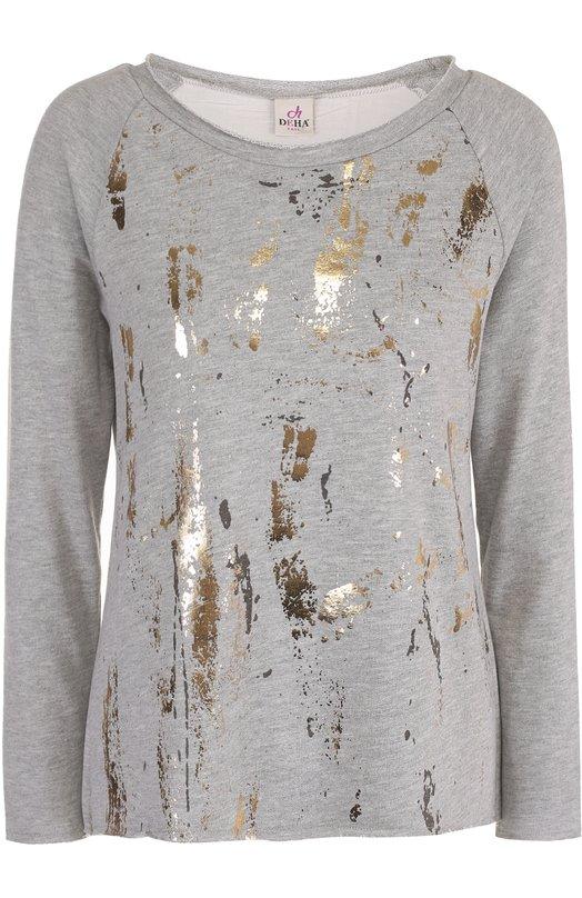 Пуловер с контрастной металлизированной отделкой Deha B54262