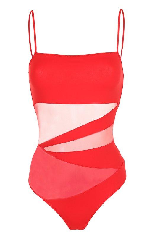 Купить Слитный купальник с полупрозрачными вставками NATAYAKIM, NY-013, Италия, Красный, Полиамид: 90%; Эластан: 10%;