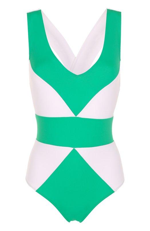 Купить Слитный купальник с контрастным принтом NATAYAKIM, NY-001, Италия, Разноцветный, Полиамид: 90%; Эластан: 10%;