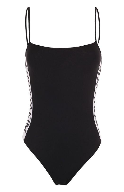 Купить Слитный купальник с контрастным логотипом бренда NATAYAKIM, NY-027/17, Италия, Черный, Полиамид: 90%; Эластан: 10%;