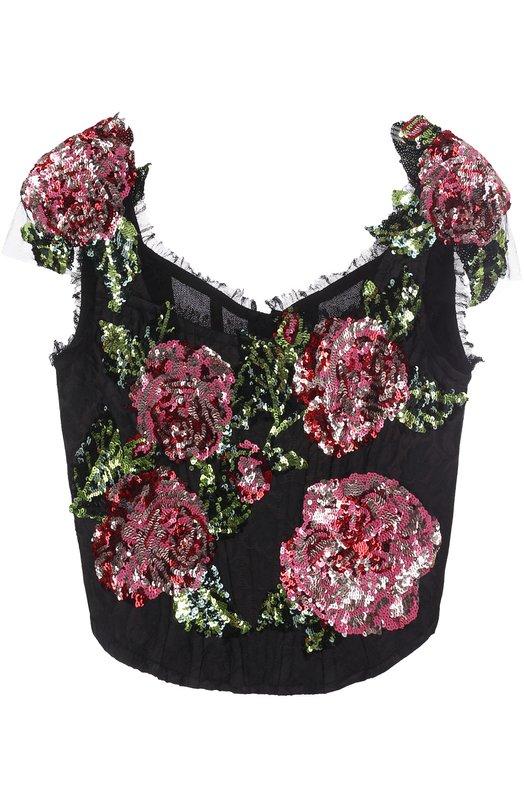 Корсет с цветочной вышивкой пайетками Dolce & Gabbana 0102/F7Z74Z/FJMTL
