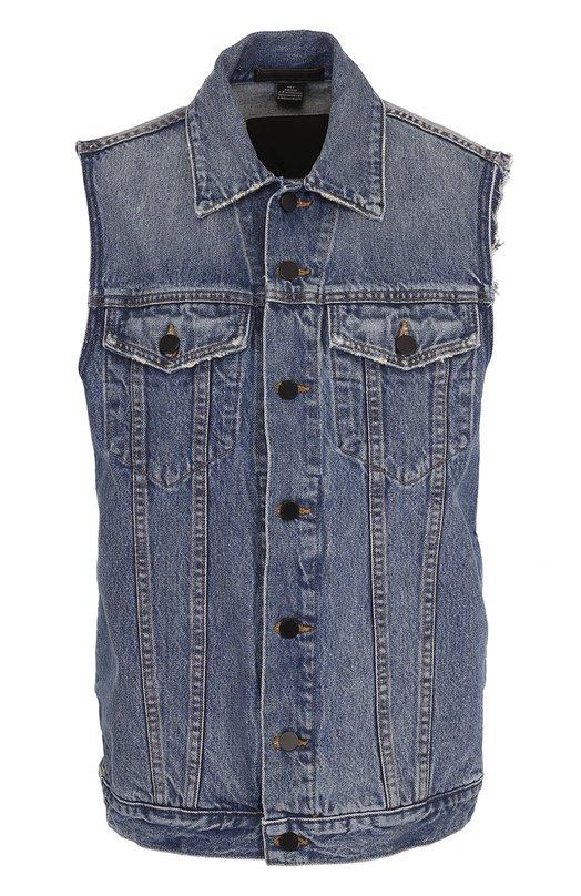 Удлиненный джинсовый жилет с потертостями Denim X Alexander Wang Denim X Alexander Wang