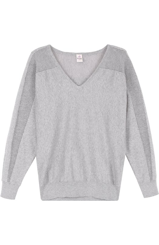 Пуловер с перфорацией и V-образным вырезом Deha B54022