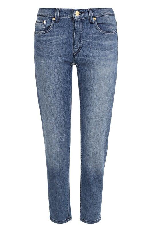 Укороченные джинсы прямого кроя с потертостями MICHAEL Michael Kors MS79CLR4V6