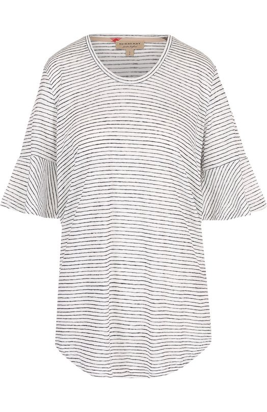 Льняная футболка в полоску Burberry 4050447