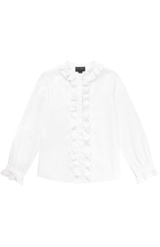 Купить Хлопковая блуза с оборками Oscar de la Renta Португалия 5044875 02C796
