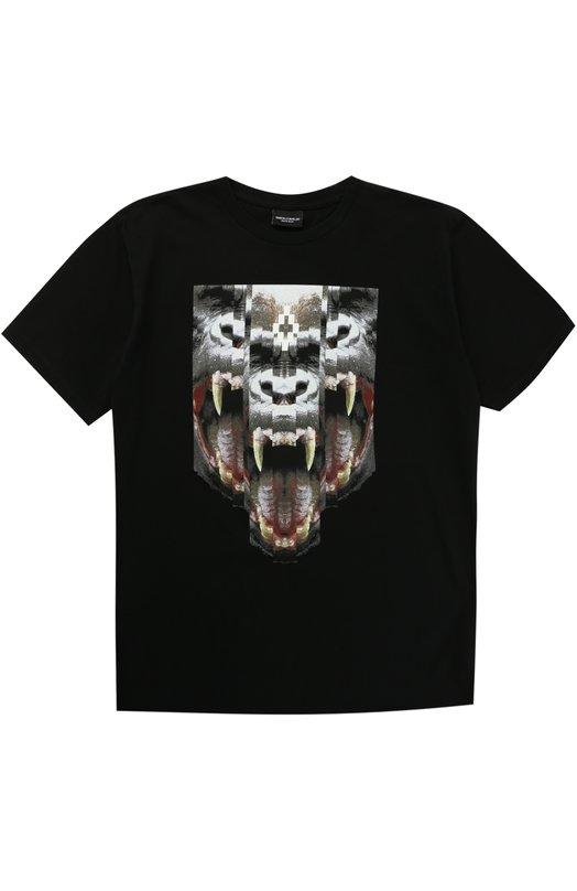 Хлопковая футболка с принтом Marcelo Burlon Kids of Milan. Цвет: черный