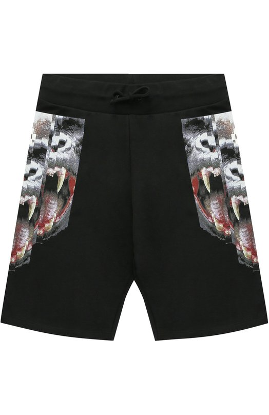 Хлопковые шорты с принтом и эластичным поясом Marcelo Burlon Kids of Milan. Цвет: черный
