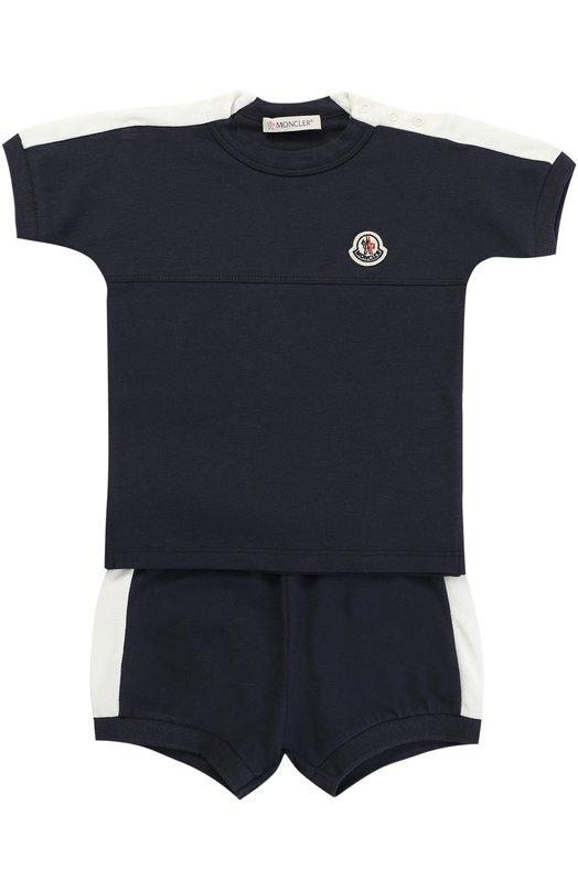 Комплект из футболки и шорт из эластичного хлопка с контрастной отделкой Moncler Enfant C1-951-88065-05-84506