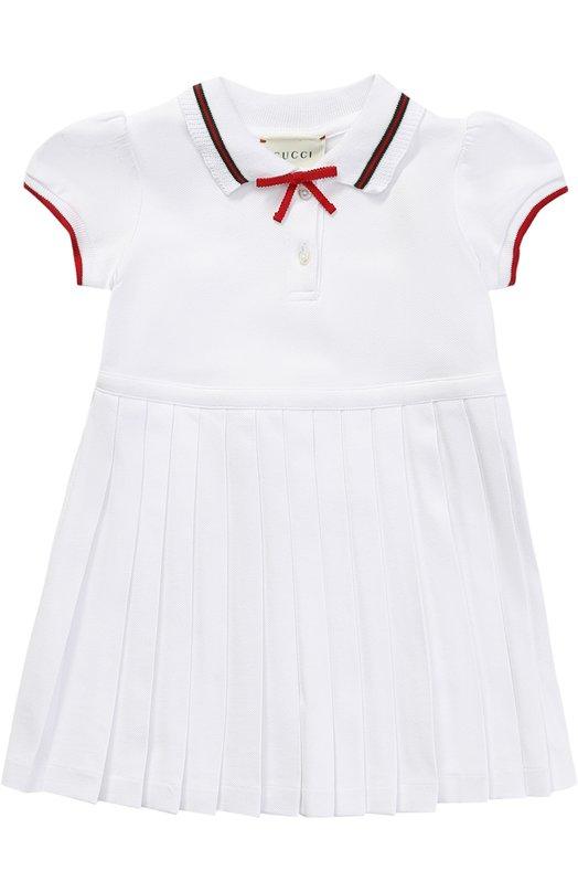 Хлопковое платье с плиссировкой и контрастной отделкой Gucci 458205/X5N22