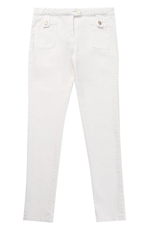 Джинсы с плетеными вставками и накладными карманами Chlo C14503/6A-12A