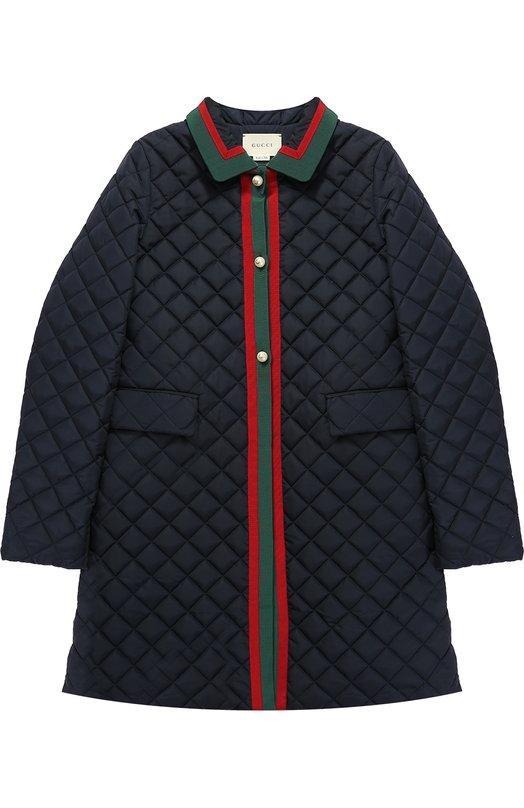 Стеганой пальто с контрастной отделкой Gucci 455826/XBA60
