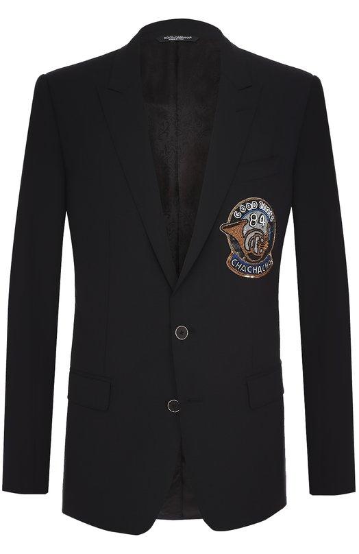 Шерстяной однобортный пиджак с нашивкой Dolce & Gabbana 0101/G2JM4Z/FUBBG