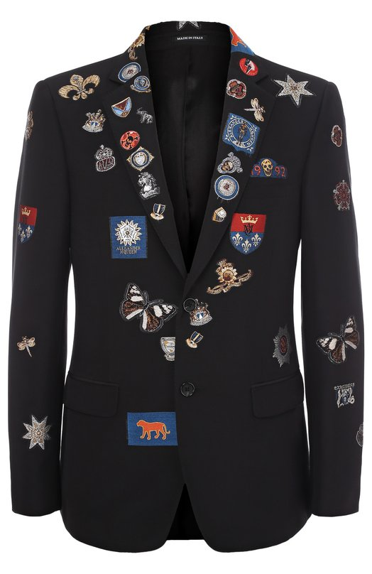 Однобортный пиджак с нашивками Alexander McQueen 449285/QIR19