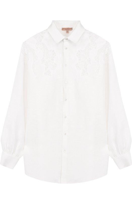 Льняная блуза с кружевной отделкой Ermanno Scervino D304K2/11556