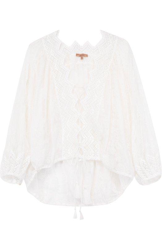 Шелковая кружевная блуза Ermanno Scervino D304K2/21558