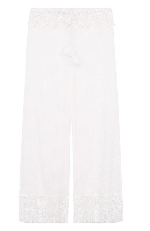 Шелковые полупрозрачные брюки с бахромой Ermanno Scervino D304P7/41558