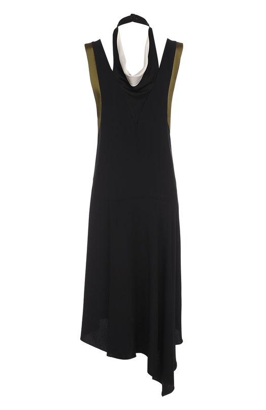 Купить Платье асимметричного кроя без рукавов Lanvin, RW-DR2019-3422-P17, Франция, Черный, Ацетат: 70%; Отделка-вискоза: 50%; Отделка-ацетат: 50%; Вискоза: 30%; Подкладка-шелк: 100%;