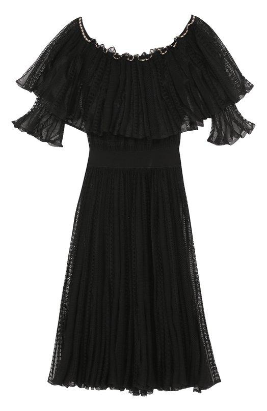 Кружевное платье с оборками и открытыми плечами Alexander McQueen 461009/Q1WCY