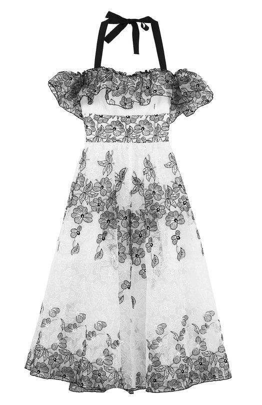 Платье с контрастной вышивкой и открытыми плечами Blugirl 21390