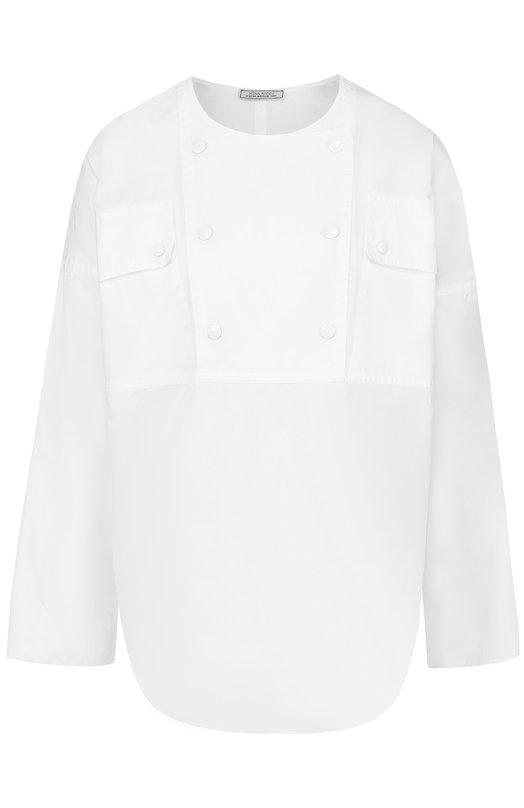 Хлопковая блуза с круглым вырезом Nina Ricci 17ECT0049C00844