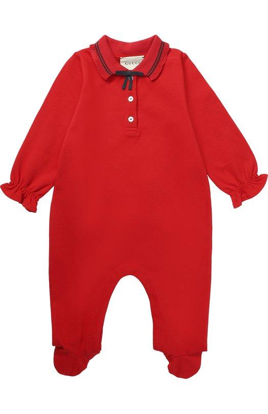 Пижама из эластичного хлопка с контрастной отделкой и бантом Gucci 458206/X5N22