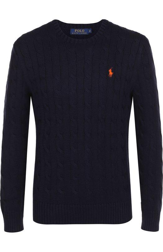 Купить Хлопковый джемпер фактурной вязки Polo Ralph Lauren, A40/S4606/C0255, Китай, Синий, Хлопок: 100%;