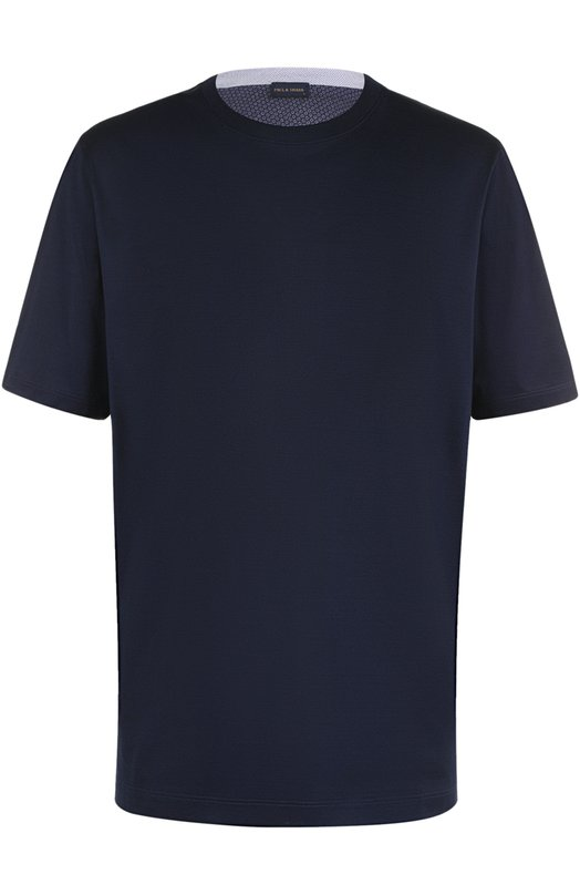 Хлопковая футболка с круглым вырезом Paul&Shark. Цвет: темно-синий