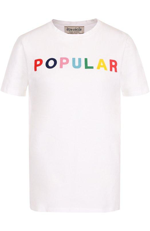 Купить Хлопковая футболка с контрастной надписью Etre Cecile Португалия 5165476 P0P-T-FL 180G C0TT0N JERSEY