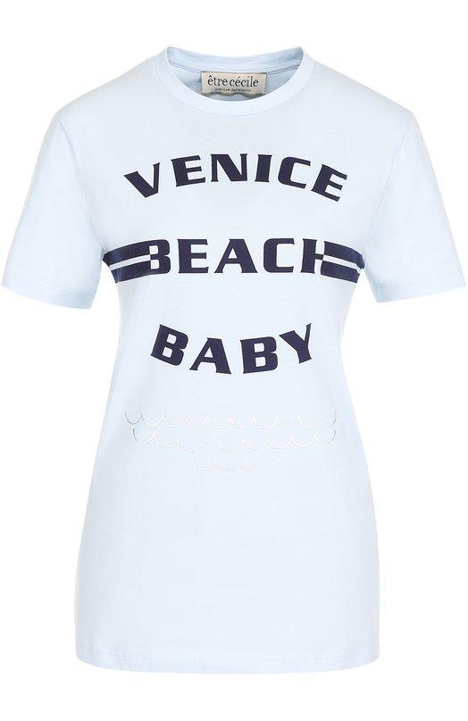 Купить Хлопковая футболка с контрастной надписью Etre Cecile Португалия 5165486 VBB-T-F0 180G C0TT0N JERSEY