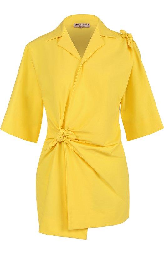 Удлиненная блуза с драпировкой и бантами Emilio Pucci 72/RJ10/72625