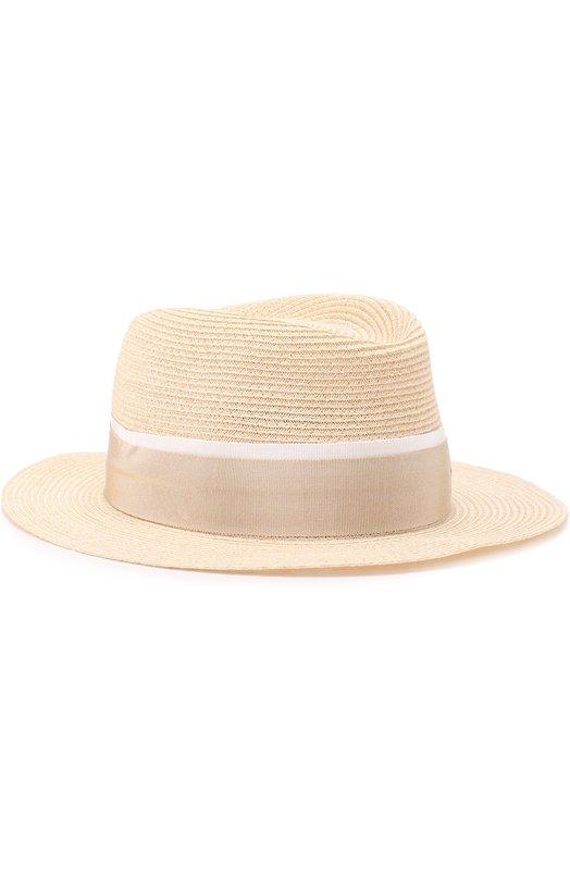 Купить Соломенная шляпа с лентой Maison Michel, 1003011005/ANDRE, Италия, Светло-бежевый, Соломка: 90%; Хлопок: 7%; Вискоза: 3%;