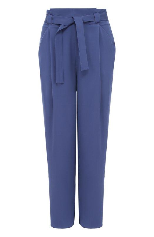 Шелковые брюки с завышенной талией и поясом Armani Collezioni VMP22T/VM312
