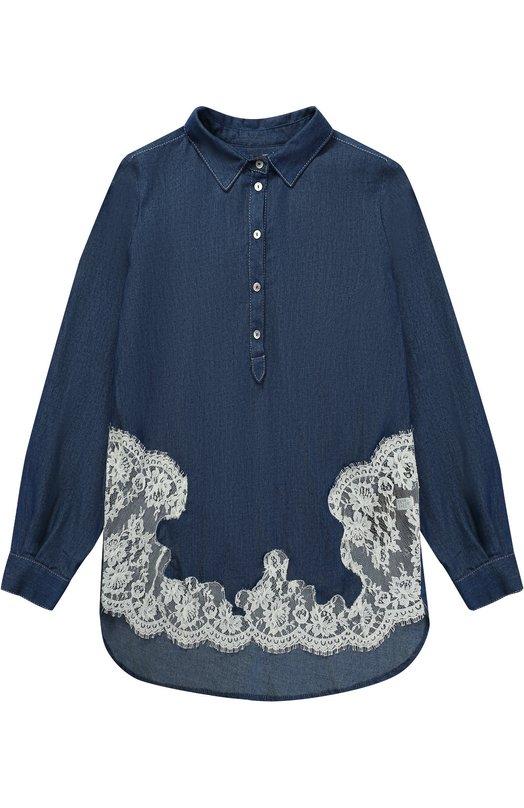Блуза свободного кроя с кружевными вставками Ermanno Scervino 40I/CM10/V1/10-14