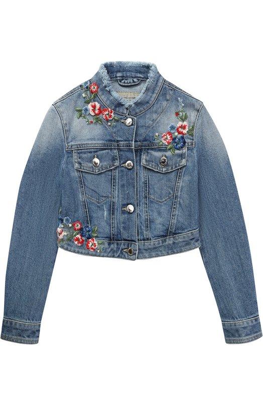 Укороченная куртка из денима с вышивками и бахромой Ermanno Scervino 40I/CP14/4-8
