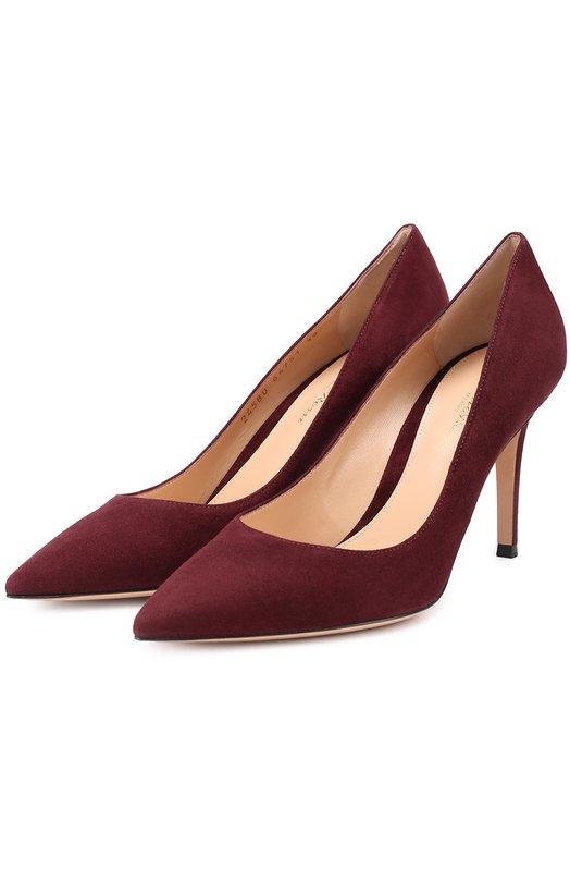 Купить Замшевые туфли Gianvito 85 на шпильке Gianvito Rossi, G24580.85RIC.CAM, Италия, Бордовый, Стелька-кожа: 100%; Подошва-кожа: 100%; Замша натуральная: 100%;