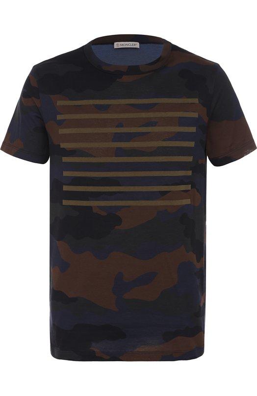 Хлопковая футболка с принтом Moncler C1-091-80180-50-829AG