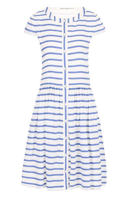 Хлопковое мини-платье в контрастную полоску Alice + Olivia CC703G06512