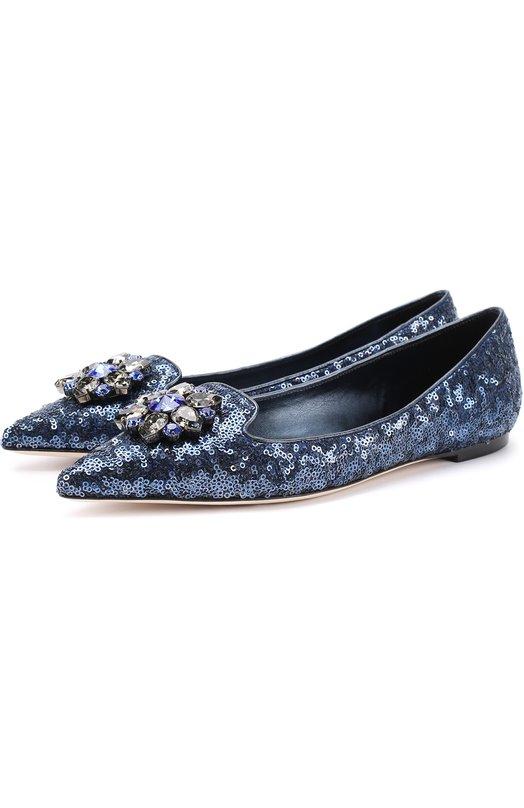Балетки с вышивкой пайетками и кристаллами Dolce & Gabbana 0112/CP0014/AE726