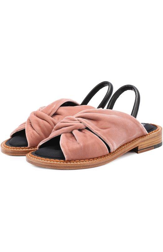 Бархатные сандалии с кожаным ремешком ROBERT CLERGERIE BL0SST/104