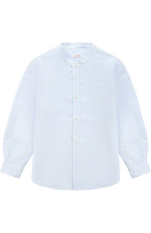 Рубашка из смеси хлопка и льна с воротником-стойкой Il Gufo P17CL016/L1004/5-8