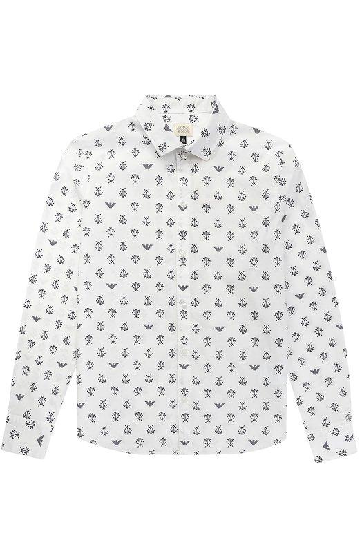 Хлопковая рубашка с принтом Giorgio Armani 3Y4C03/4NDSZ/11A-16A
